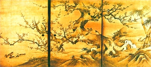 Кано Эйтоку. Пейзаж с цветами и птицами. Настенная ропись. Фрагмент. 1566 г.