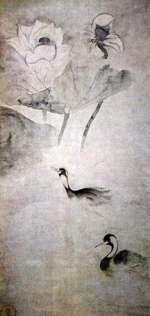 Таварая Сотацу. Утки в лотосном пруду